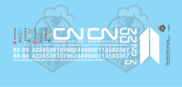 CN Canadian National SD70M-2 HO Scale Decal Set