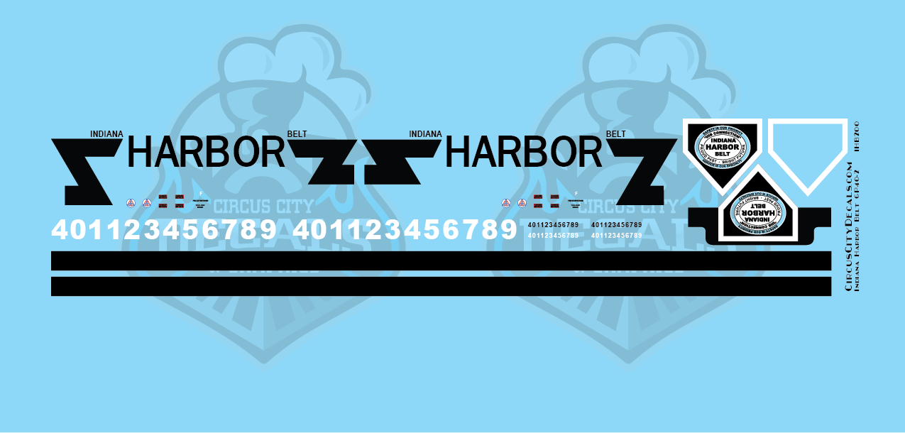 Indiana Harbor Belt GP40-2 HO Scale Decal Set
