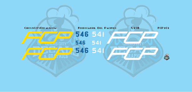 FCP U23B Ferrocarril Del Pacifico N scale Decal Set