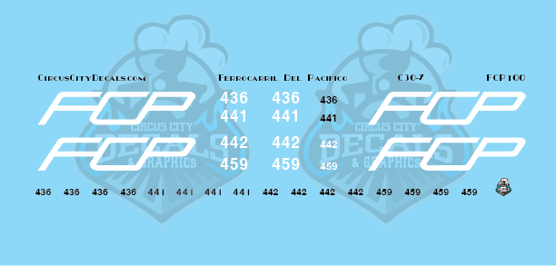 FCP C30-7 Ferrocarril Del Pacifico N scale Decal Set