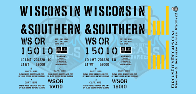 Wisconsin & Southern Railroad #15010 Covered Hopper Decal Set WSOR G Scale