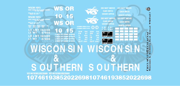 Wisconsin & Southern Railroad 50' Blue Boxcar Decal Set WSOR G Scale LGB