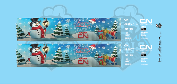 Canadian National CN Holiday Hopper N Scale Decal Set
