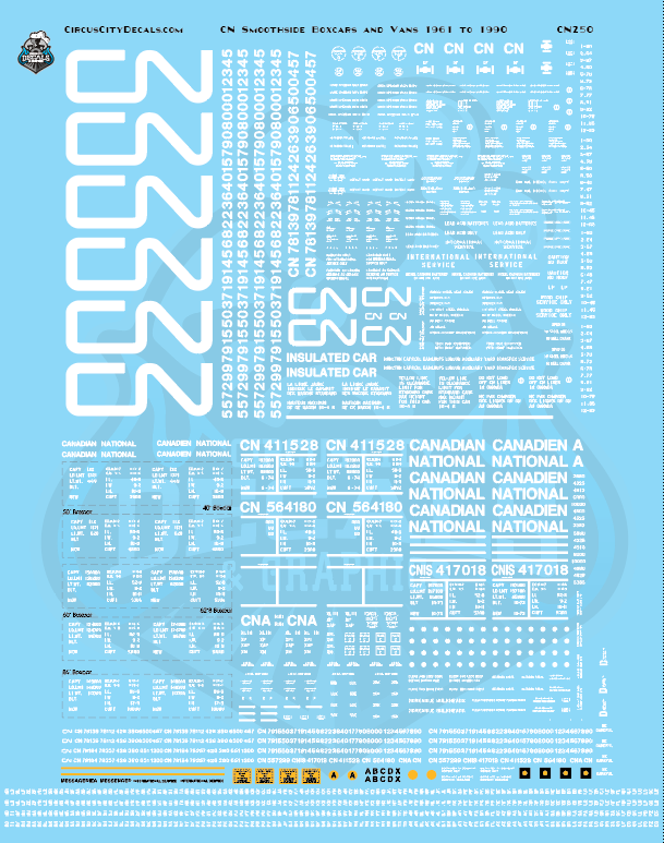 Canadian National CN Smoothside Boxcars and Vans 1961 to 1990 HO Scale Decal Set