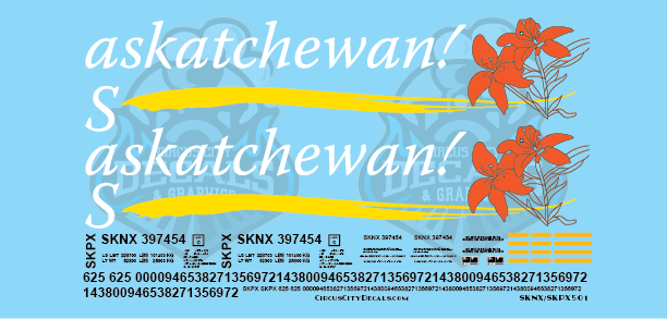 Saskatchewan! Grain Hopper SKNX SKPX Decal Set S Scale