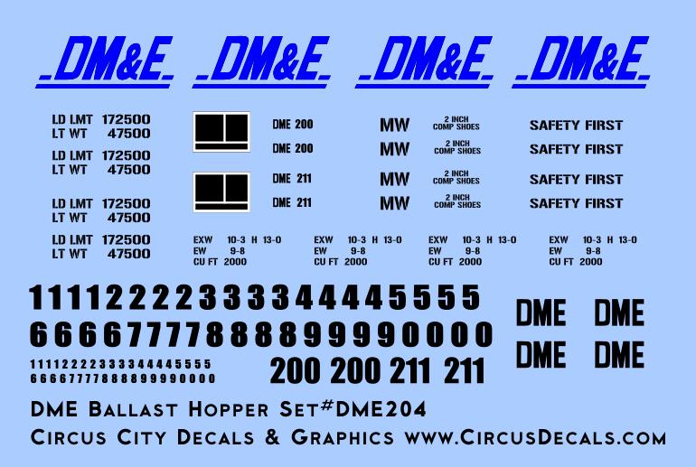 Dakota, Minnesota & Eastern Ballast Hopper Decals DM&E