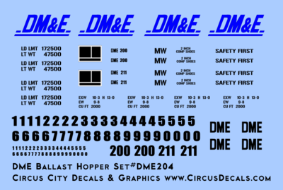 Dakota, Minnesota & Eastern Ballast Hopper Decals DM&E