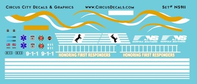 Norfolk Southern First Responders Unit 9-1-1 SD60E Decals HO Scale NS