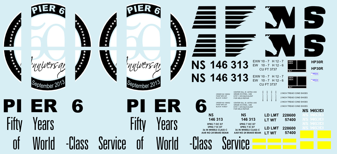 Norfolk Southern Pier 6 N scale Hopper Decals