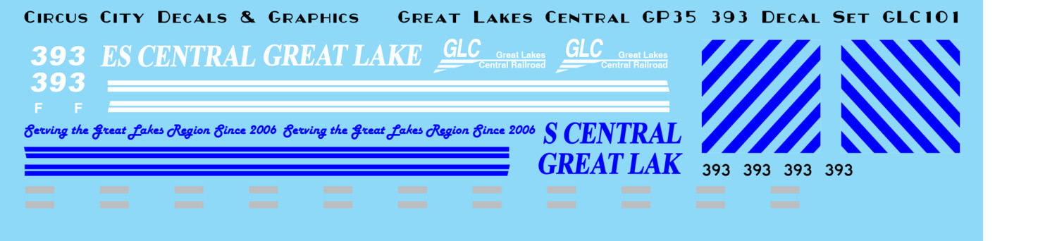 Great Lakes Central GP35 393 N Scale decals