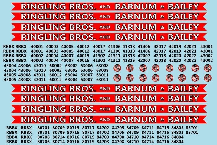 Ringling Brothers & Barnum Bailey Red Unit RBBB Modern Circus Train Decals N Scale