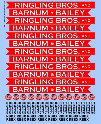 Ringling Brothers & Barnum Bailey Red Unit RBBB Modern Circus Train Decals O Scale