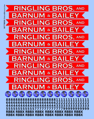 Ringling Brothers & Barnum Bailey Blue Unit RBBB Modern Circus Train Decals O Scale