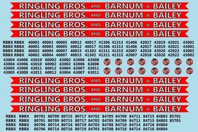 Ringling Brothers & Barnum Bailey Red Unit RBBB Modern Circus Train Decals HO Scale