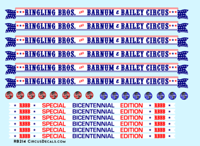 Ringling Brothers & Barnum Bailey Bicentennial HO Scale Decal Set 1975-76 Red Unit