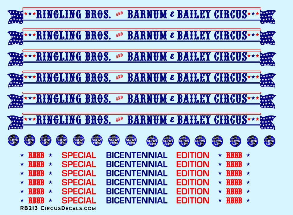 Ringling Brothers & Barnum Bailey Bicentennial HO Scale Decal Set 1976-77 Blue Unit