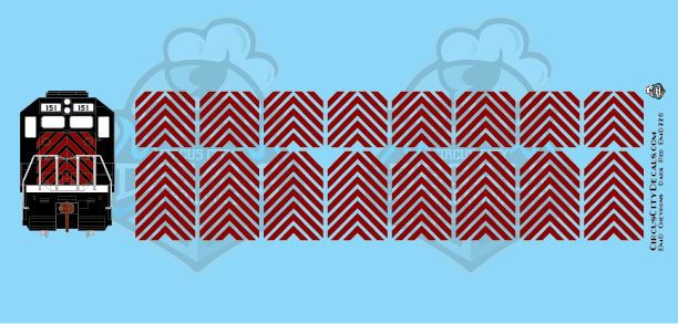 EMD Chevrons GP SD Dk Red Montana Rail Link Style HO Scale Decals