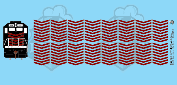EMD Chevrons GP SD Dk Red Style 5 HO Scale Decals