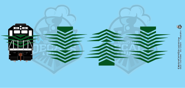 EMD Chevrons GP SD Dk Green Style 7 HO Scale Decals