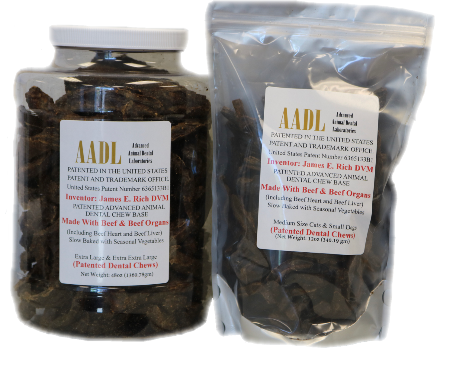 Large & Extra Large Patented Beefy Dental Chews for Dogs
