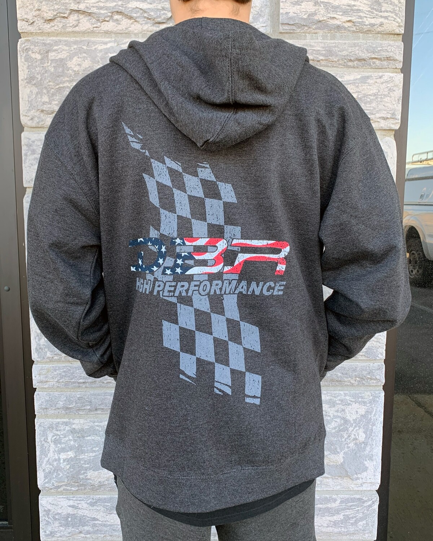 DBR - USA Flag Zip Hoodie - Charcoal Heather