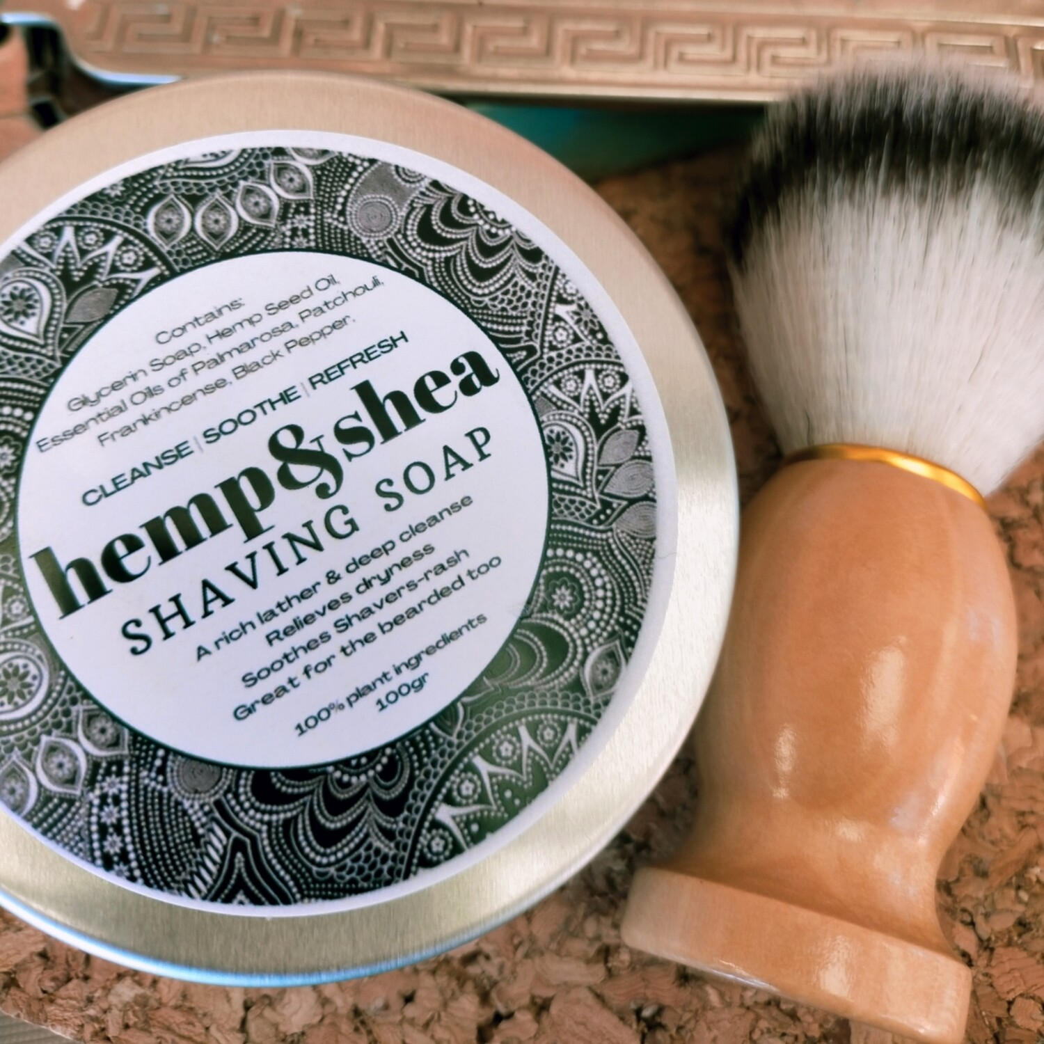 Hemp&Shea Shaving Soap - 100gr - with brush