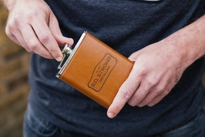 SD Strong Leather Wrapped Flask