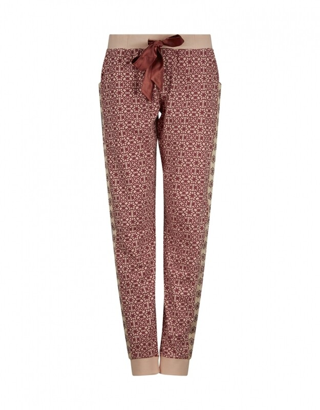 Women relax pants D37109-38 Brique Red + Soft Pink Charlie Choe
