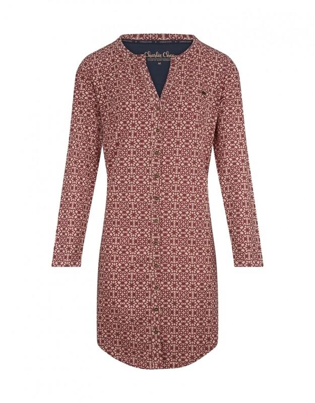Women sleepshirt D37110-38 Brique Red + Soft Pink Charlie Choe