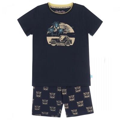 Boys long shorts set E39070-42 Navy + Light sand Charlie Choe
