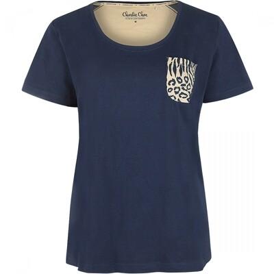 T-shirt E39146-38 Navy Charlie Choe Safari Chique