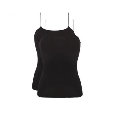 Spaghetti hemd 2-pack 30198 Black Ten Cate Women Basic