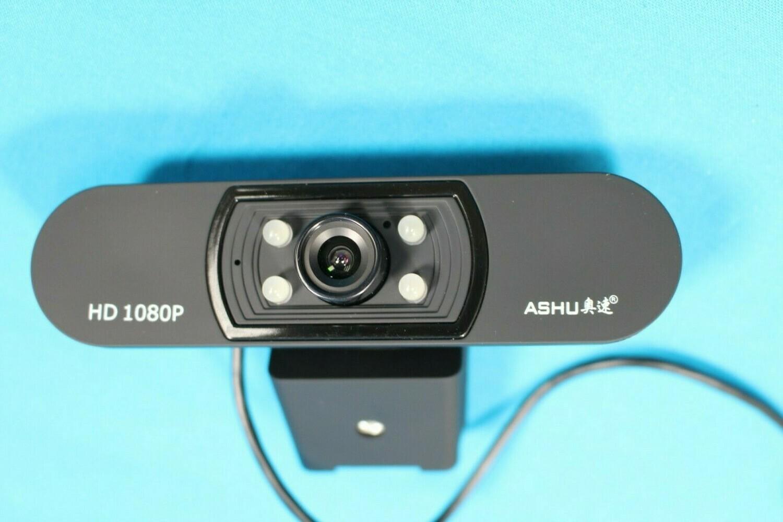 ASHU Webcam with Tripod & Universal Clip Full HD 1080p