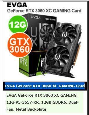 EVGA RTX 3060 12GB RAM