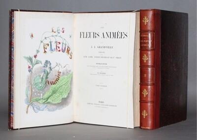 GRANDVILLE.- Les Fleurs animées, (vers 1880).- 50 planches finement coloriées.