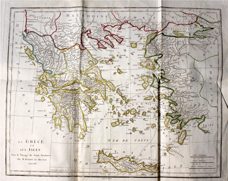 ATLAS. BARTHELEMY, Jean-Jacques (abbé) & BARBIÉ DU BOCAGE, Jean-Denis. Recueil de cartes géographiques, 1790.