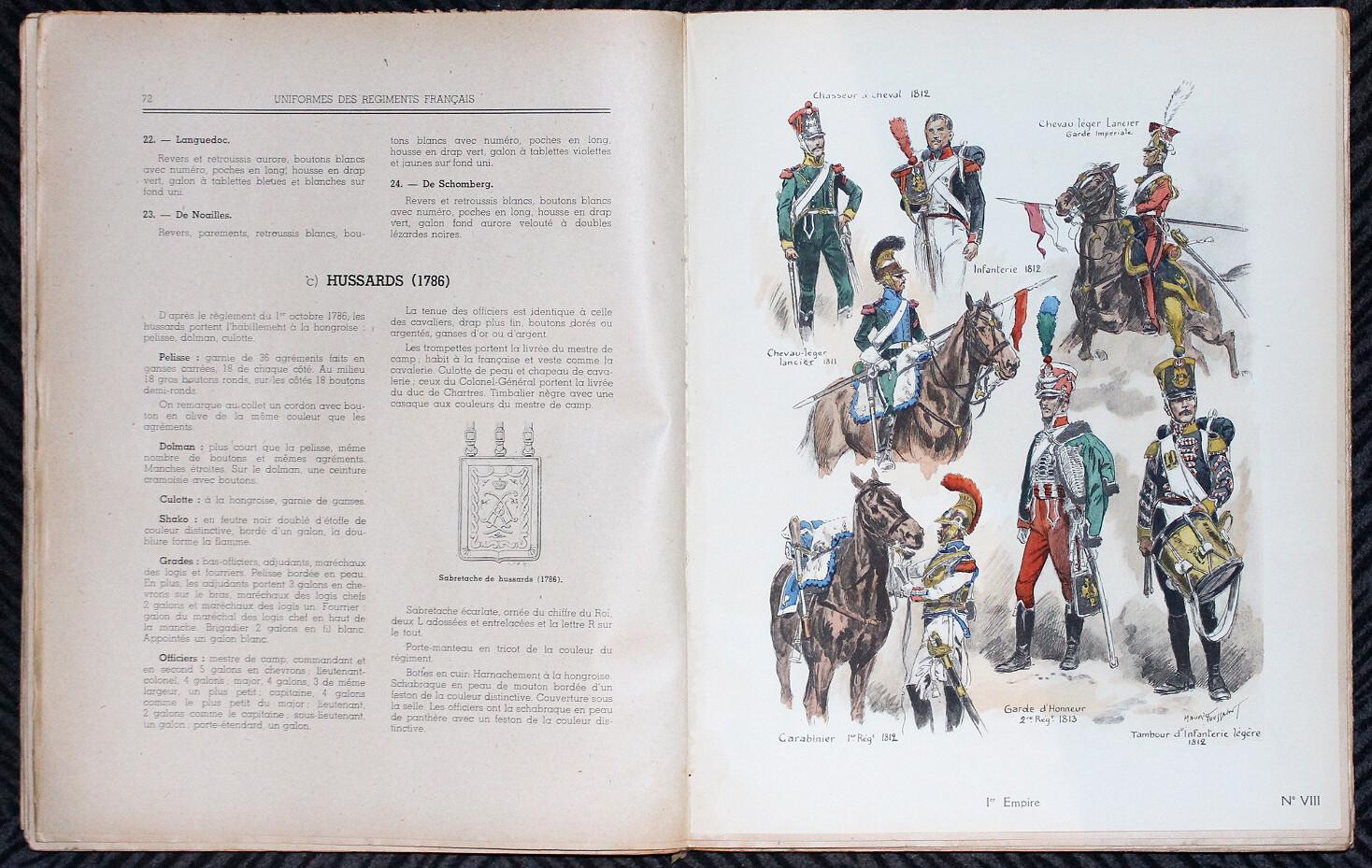 CART.- Uniformes des régiments français de Louis XV à nos jours, 1945.