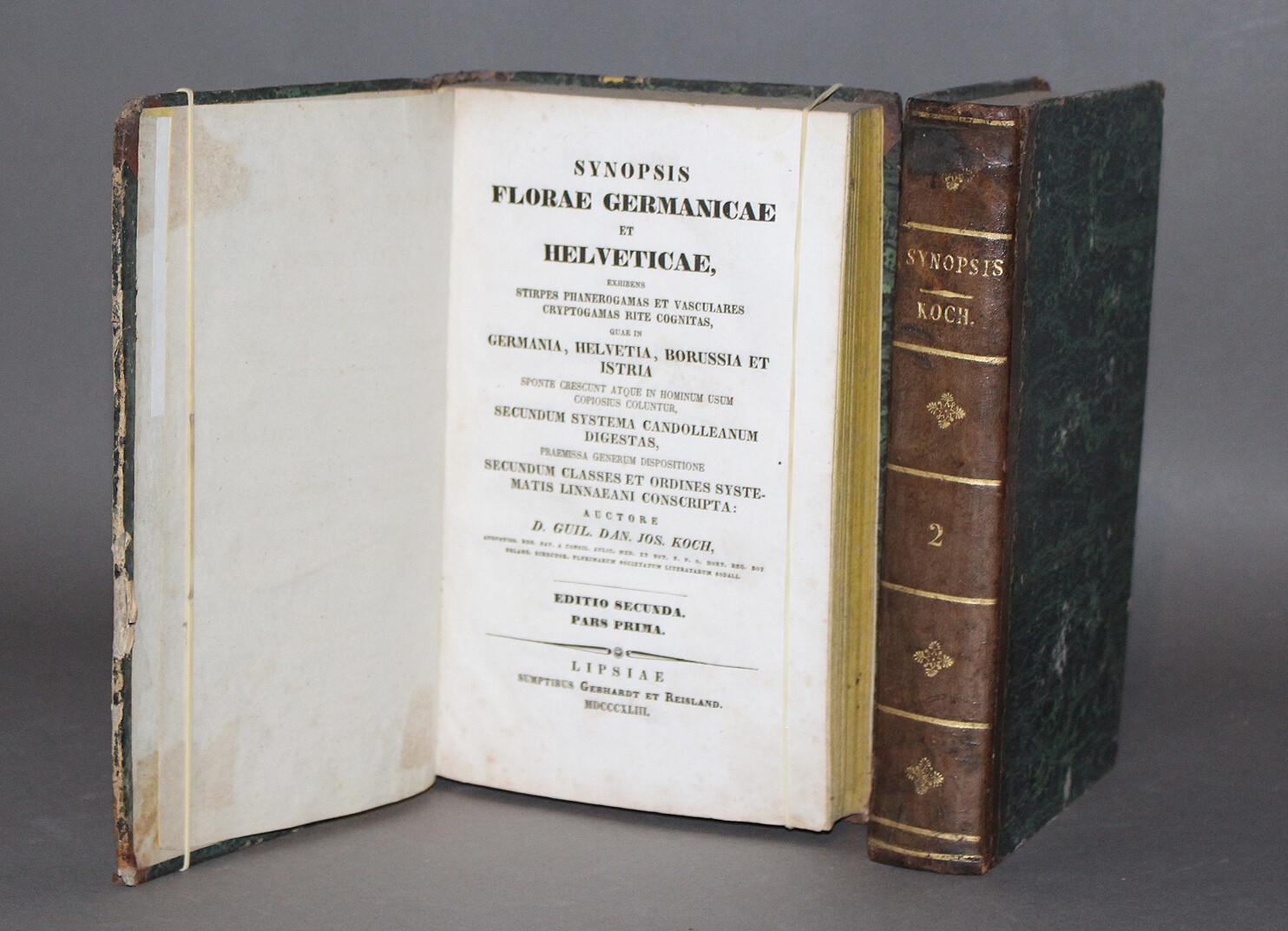 KOCH.- Synopsis Floræ Germanicæ et Helveticæ, 1843-1844. Seconde édition de cette célèbre flore d'Allemagne, de Suisse et d'Autriche.