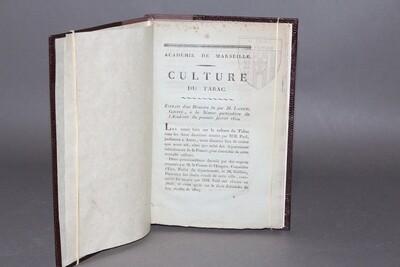 """GOUFFÉ DE LA COUR.- Recueil de mémoires extraits du """"Bulletin de l'Académie de Marseille"""", 1810."""