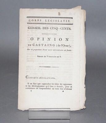 CASTAING.- Opinion de Castaing sur la proposition d'une vente extraordinaire de futaie, 1799.