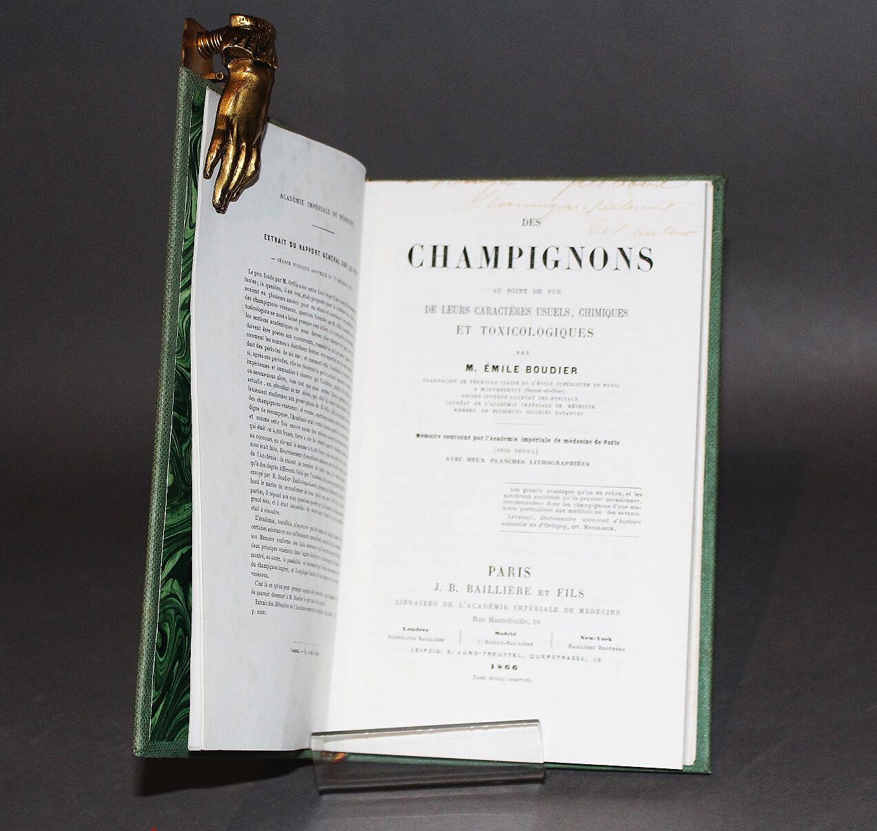 BOUDIER.- Des Champignons, 1866. Édition originale.
