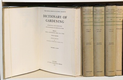 ROYAL HORTICULTURE SOCIETY. Dictionary of Gardening, 1956. 5 volumes.