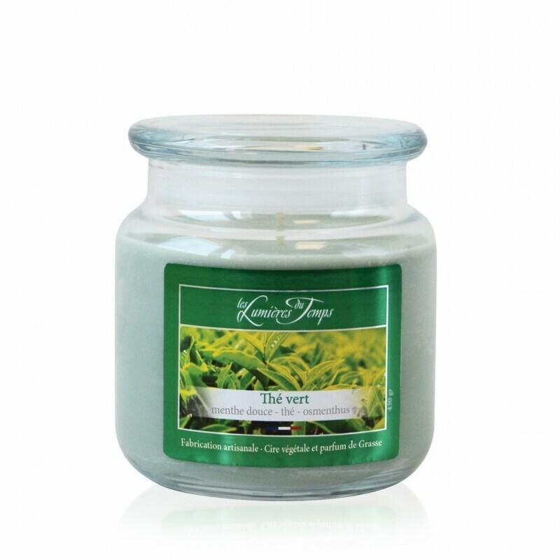 Bougie colorée 430 gr- Thé vert