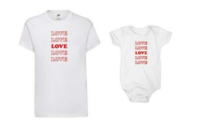 Love print Shirts or Baby Grows
