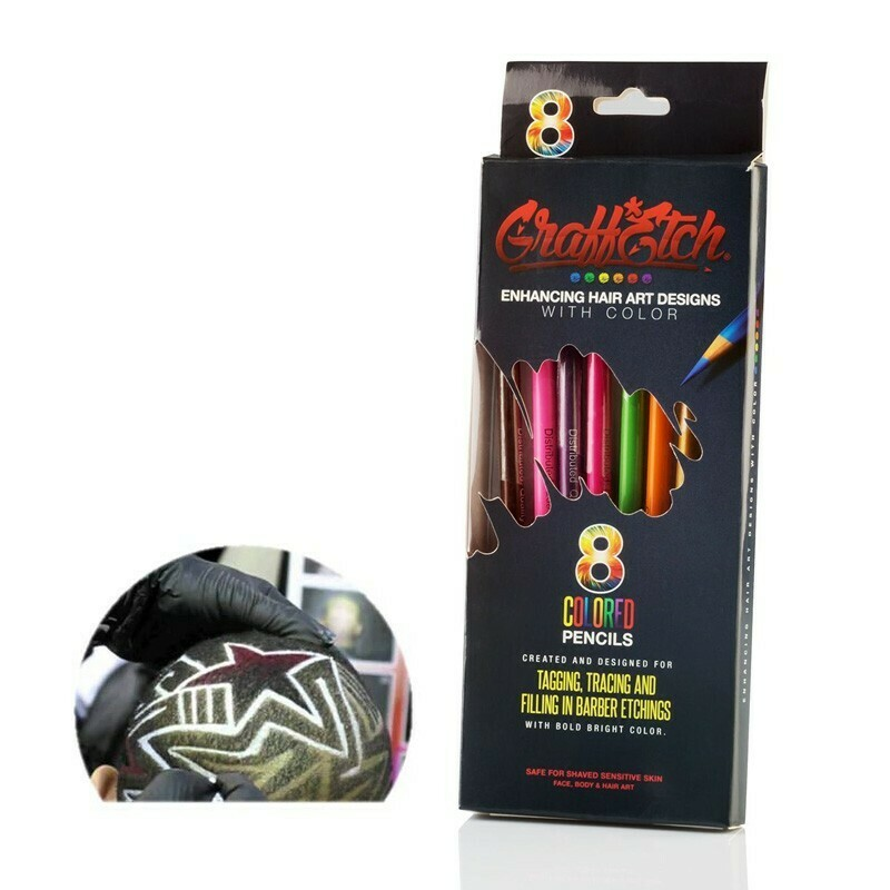 GraffEtch- 8 matite colori neon per Hair Tattoo e Graffiti capelli