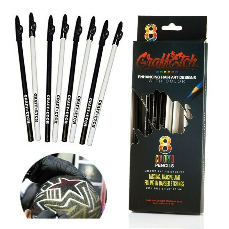 Graffetch-8 matite bianco o nero per Hair Tatto e Graffiti Capelli