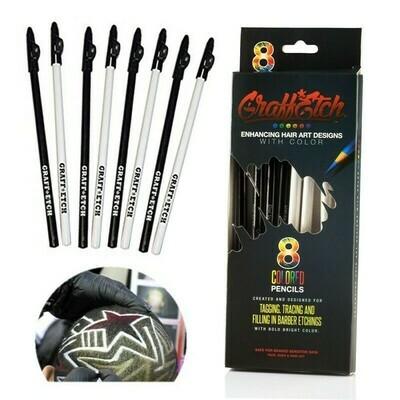 Graffetch-8 matite bianco o nero per Hair Tatto e Graffiti Capelli
