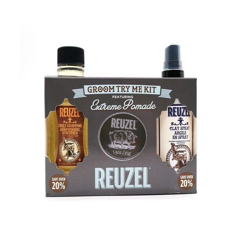 Reuzel - Kit Extreme Hold Cera+Shampoo+Spray