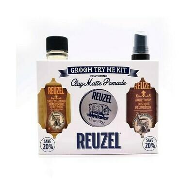 Reuzel - Kit Clay Matte - Cera + Shampoo +Spray