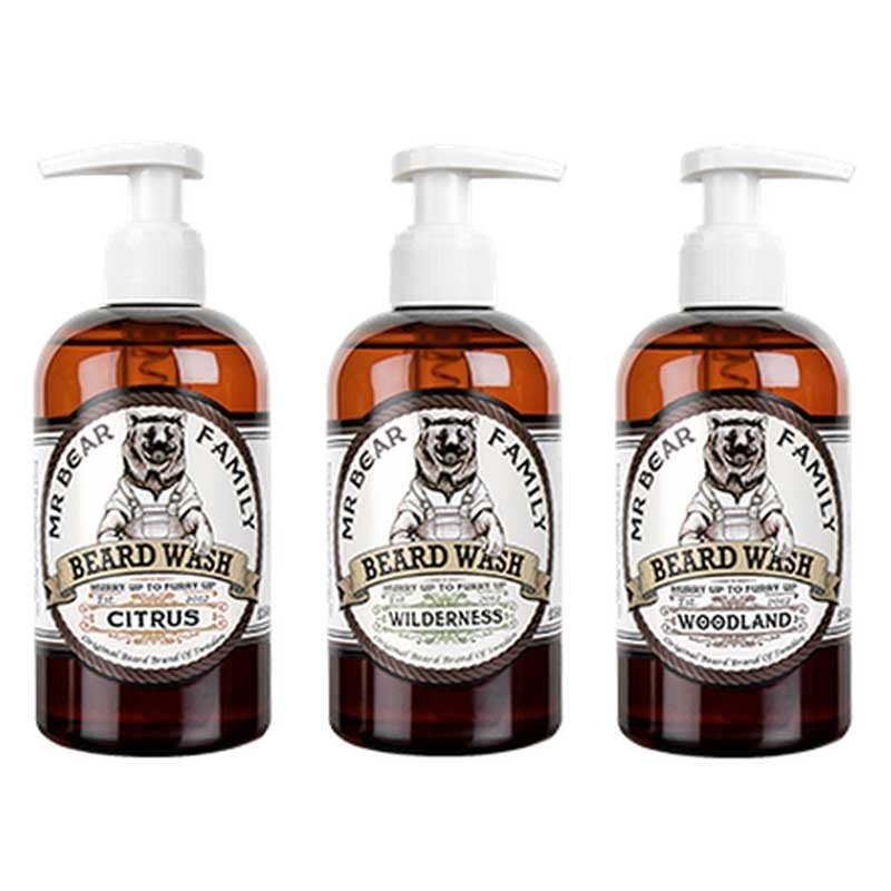 Mr Bear Family - Sapone liquido da barba gusto Wilderness (colline verdi) 250ml.
